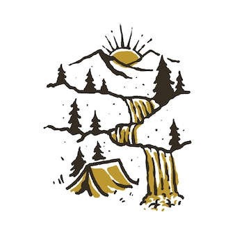 Camping hiking climbing mountain illustration