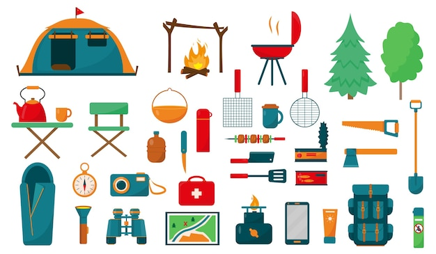 Camping or hiking equipment set on white background. big collection of elements or icons for camping concept .  illustration.