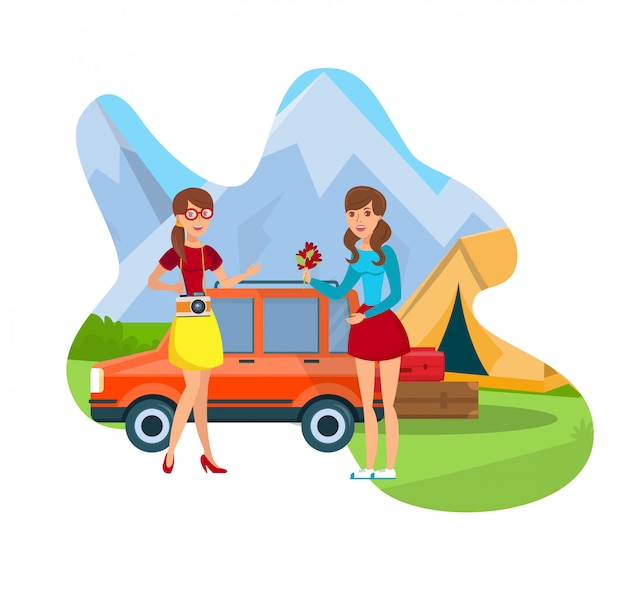 Camping and hiking flat color vector illustration
