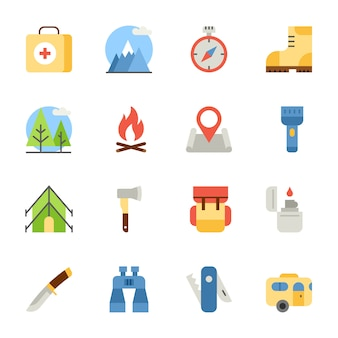 Camping and hiking flat icons