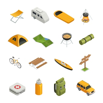 Camping hiking isometric icon set