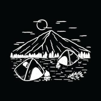 Camping hiking nature mountain illustration