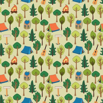 Camping and hiking seamless pattern of tents in a forest of trees with camp fires  rucksacks  backpacks  guitars and trail markers  vector illustration in square format