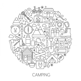 Camping, hiking tools line concept