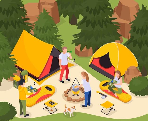 Illustrazione isometrica turistica di escursione di campeggio