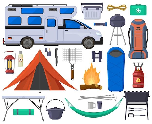 キャンプハイキング観光テント、バン、キャンプファイヤーの要素。ハイキングアウトドアアドベンチャー機器ベクトルイラストセット。リラクゼーションやレクリエーションのための観光キャンプ用品、休息のための物資