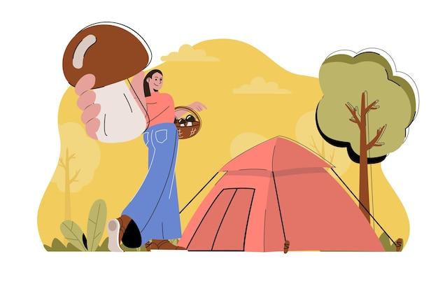 フラットな人々のキャラクターとキャンプの休日のwebコンセプトイラスト