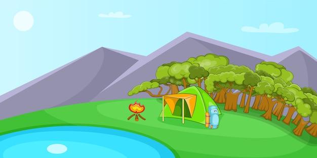 캠핑 가로 배경, 만화 스타일