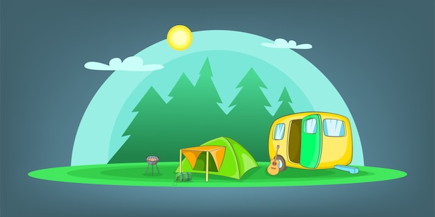 Camping horizontal background objects, cartoon style