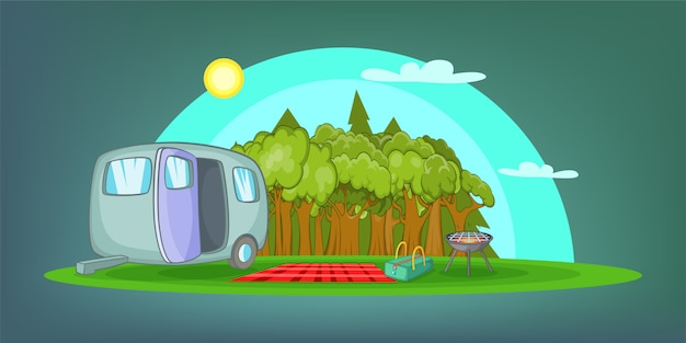 Camping horizontal background picnic, cartoon style