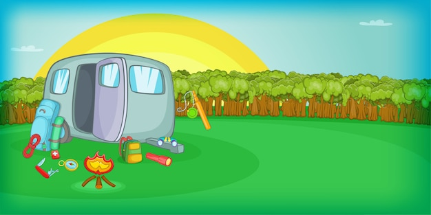 Camping horizontal background sunset, cartoon style