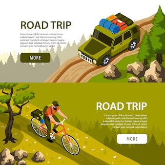 Camping horizontal  banners set  with man riding bicycle and tourist car on road in forest 3d isometric isolated  illustration,