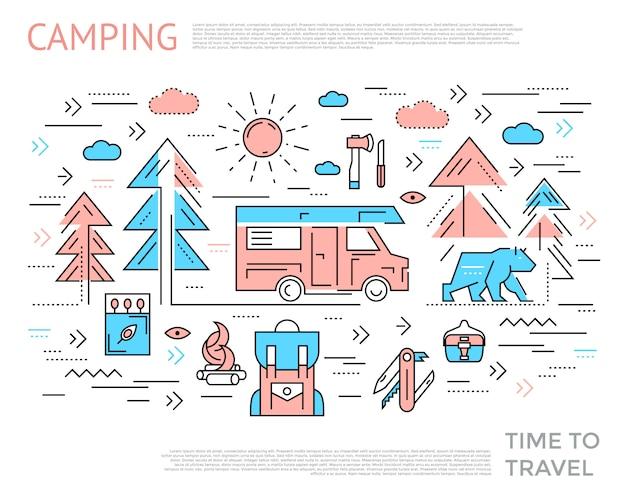 Concetto orizzontale di campeggio