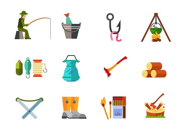 Collezione di icone di campeggio