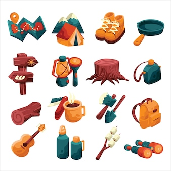 Camping icon item set with colourful and cartoon style