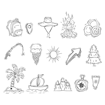 Camping icons collection with black and white doodle style