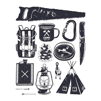 Camping icons and symbols. vintage hand drawn style. silhouette mountain adventure elements
