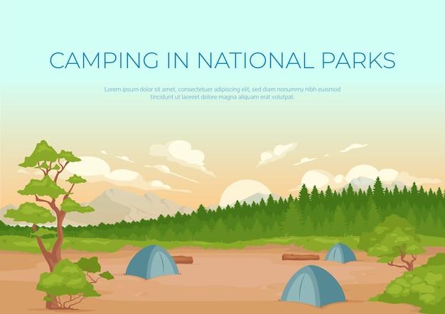 Кемпинг в национальных парках баннер плоский шаблон. летний активный отдых. брошюра, буклет на одну страницу концептуального дизайна с мультяшным ландшафтом. горизонтальный флаер, буклет о местоположении кемпинга