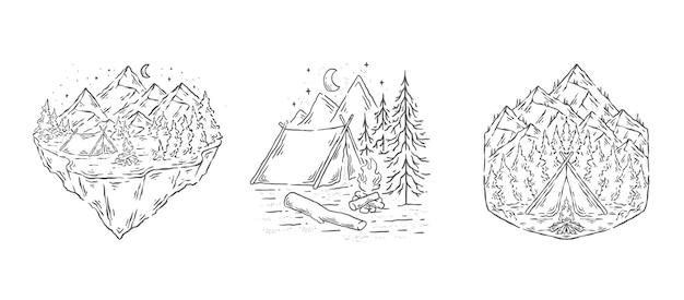 자연 라인 아트 디자인 일러스트에서 캠핑