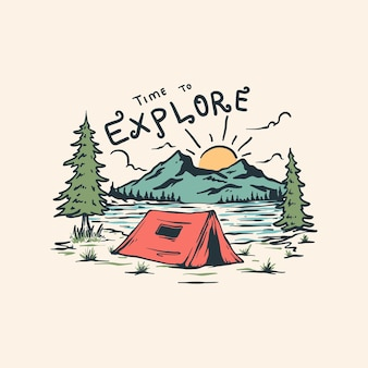야생에서 캠핑하는 것은 너무 재미있는 삽화입니다.
