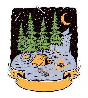 밤에 숲에서 야영