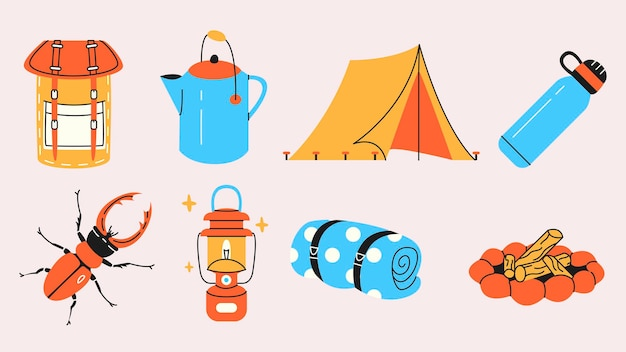 森の中でのキャンプシンプルな要素のコレクション