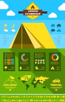 Camping infographic template.