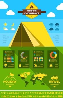 캠핑 infographic 템플릿입니다.