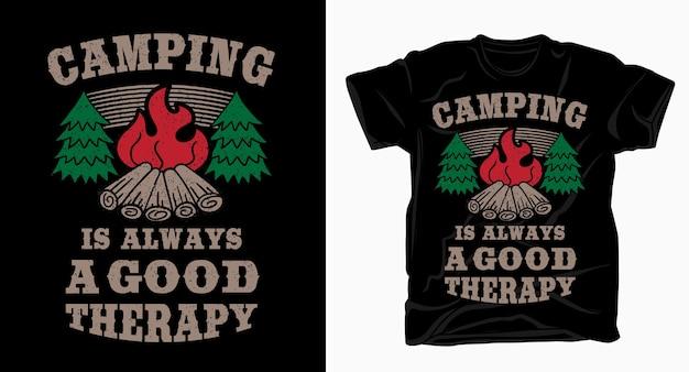 キャンプは常にキャンプファイヤーtシャツを使った優れたセラピータイポグラフィです