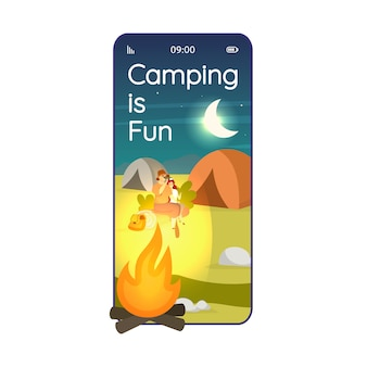Camping is fun cartoon smartphone app screen. overnight stay in wilderness. mobile phone displays with flat character design  . expedition site application telephone cute interface