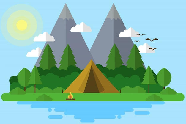 Camping in island illustration