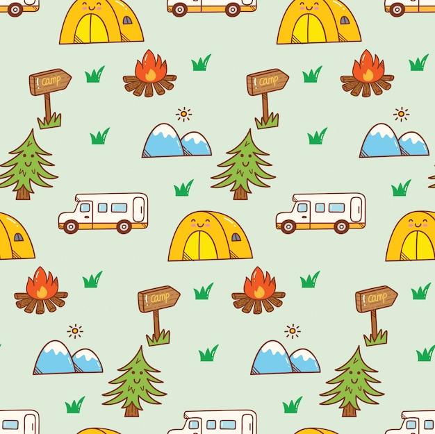 Camping kawaii doodle background