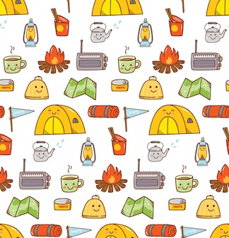 Camping kawaii doodle background