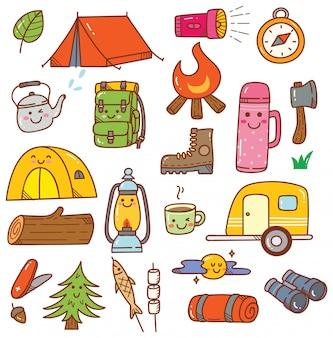 Camping kawaii doodle set