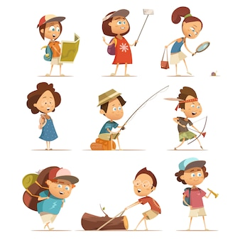 Camping kids cartoon icons set with equipment isolated vector illustration