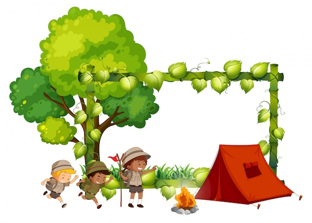 Camping kids frame template