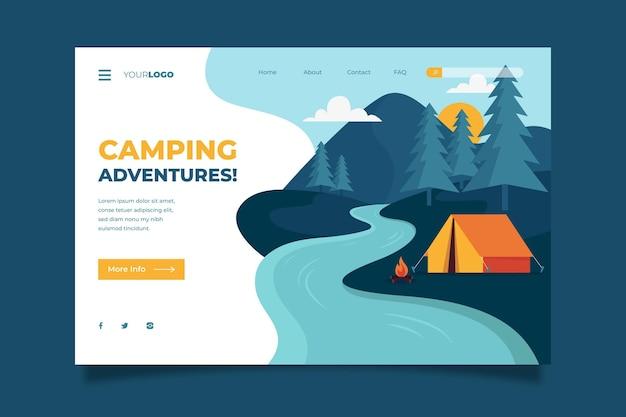 Concetto di pagina di destinazione del campeggio