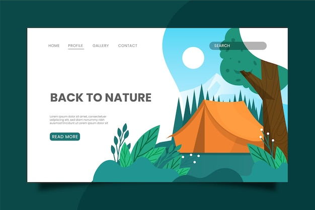 Modello di pagina di destinazione campeggio con tenda e albero