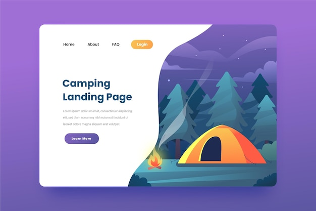 Camping landing page template with tent