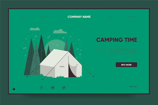 テント付きのキャンプ用ランディングページテンプレート