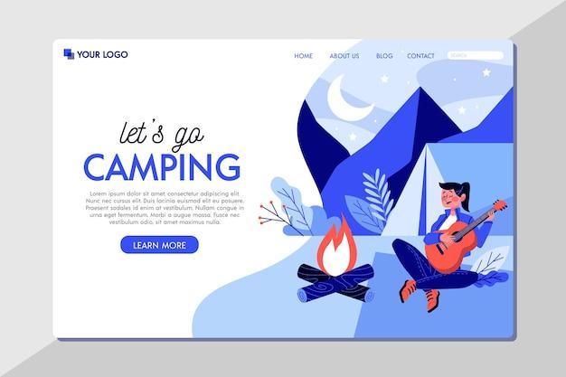 Modello di pagina di destinazione del campeggio