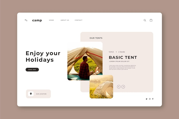 Camping landing page with photos
