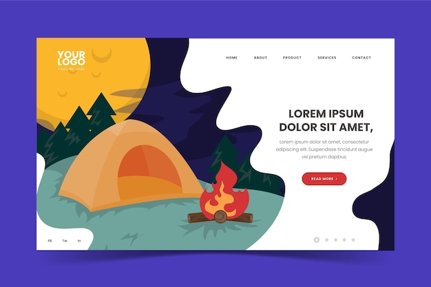 Camping landing page with tent and campfire