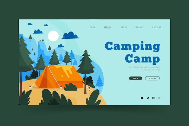 Camping landing page with tent