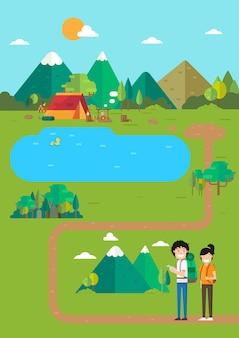 キャンプの風景、山の湖のキャンプ場の場所、travel.illustrationの時間