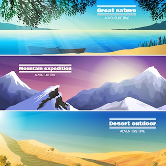 Camping landscapes flat banners set