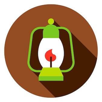 Кемпинг фонарь круг значок. плоский дизайн векторные иллюстрации с длинной тенью.