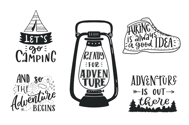 Camping lettering collection