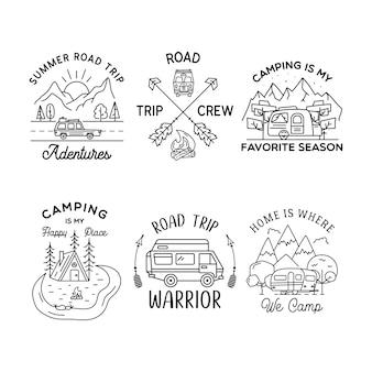 캠핑 라인 아트 로고 디자인 세트. 빈티지 모험 선형 배지