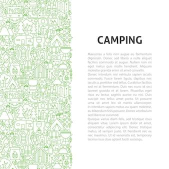 캠핑 라인 패턴 개념입니다. 개요 디자인의 벡터 일러스트 레이 션.